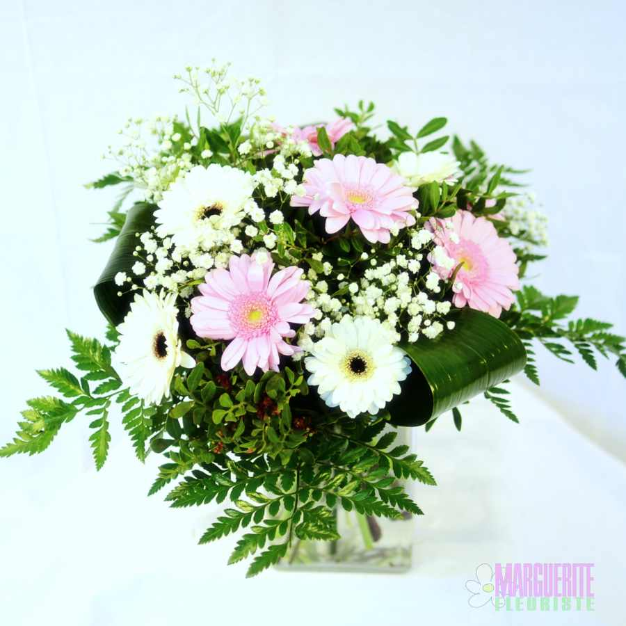 Bouquet rond regard germinis roses et blancs et for Bouquet de fleurs 30 euros